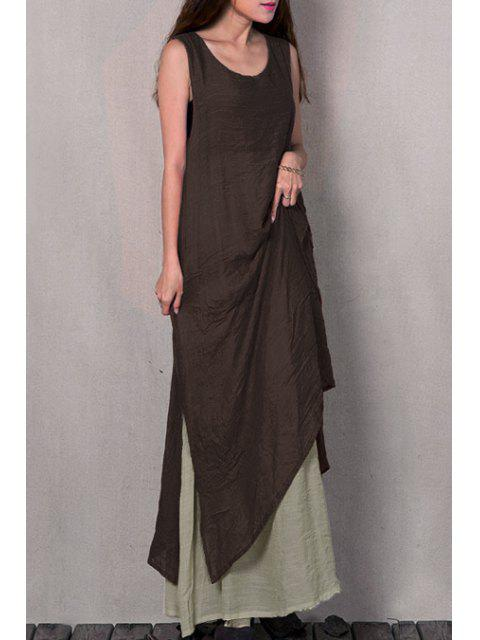 outfit Two Piece Tank Dress - BROWN XL Mobile