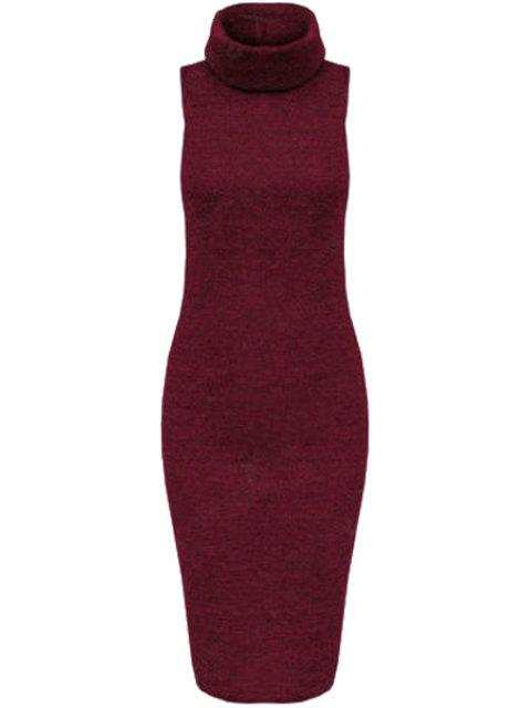 shop Solid Color Bodycon Turtle Neck Sleeveless Sweater Dress - WINE RED XL Mobile