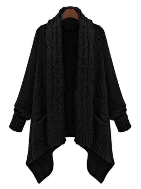 fancy Cable Knit Long Thick Cardigan - BLACK ONE SIZE(FIT SIZE XS TO M) Mobile