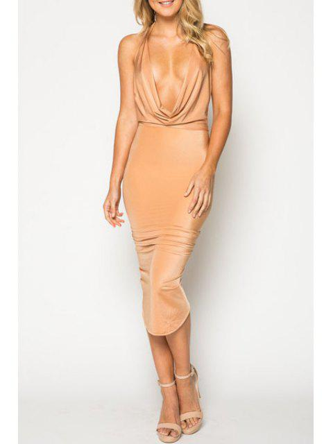 women's Solid Color Halterneck Bodycon Dress - APRICOT XL Mobile