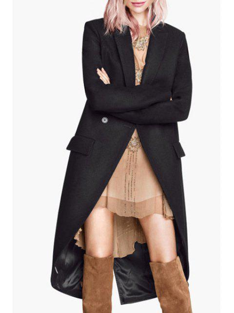 affordable Double-Breasted Dovetail Wool Coat - BLACK XL Mobile