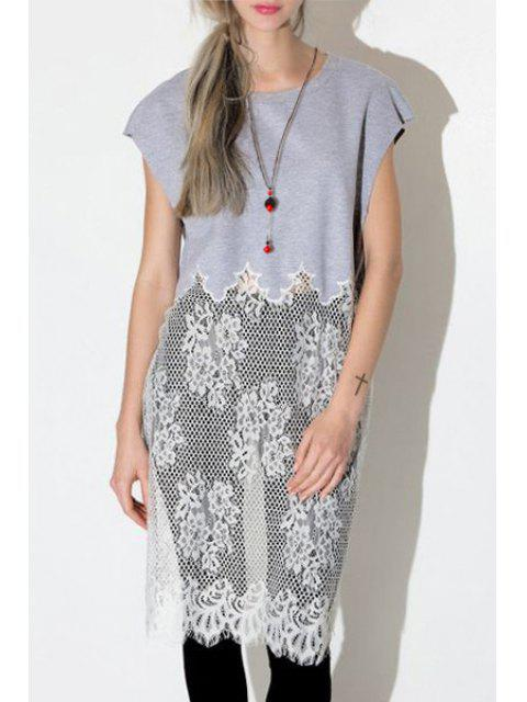 outfits Lace Spliced Jewel Neck Short Sleeve T-Shirt - GRAY XL Mobile