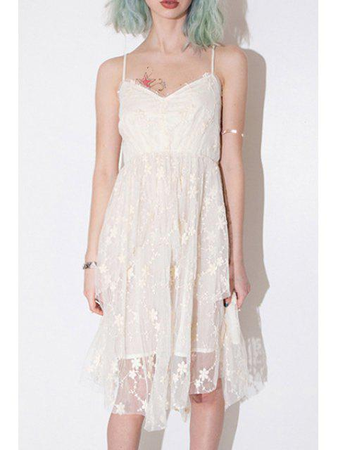 fashion Floral Embroidery Cami Lace Dress - WHITE 2XL Mobile