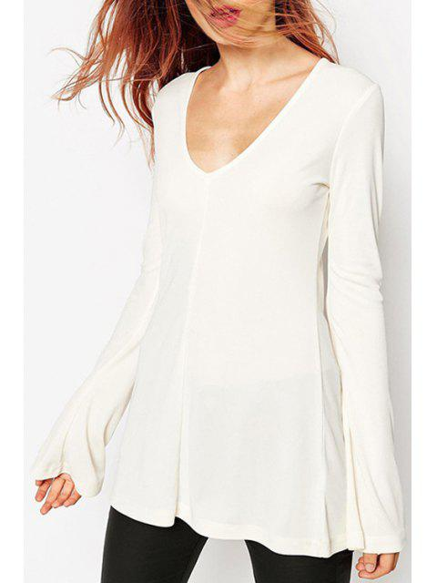 hot Bell Sleeve A-Line White T-Shirt - WHITE XL Mobile