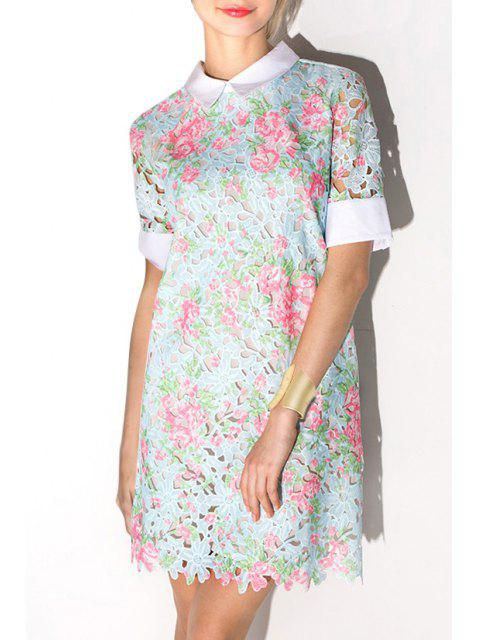 women's Crochet Flower Openwork Lace Dress - LIGHT BLUE M Mobile