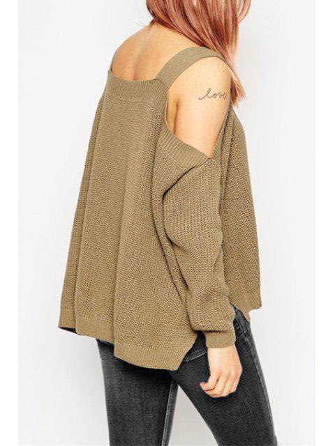 Long Sleeve Off-The-Shoulder Sweater - Café Tamanho Único(Ajusta Mobile