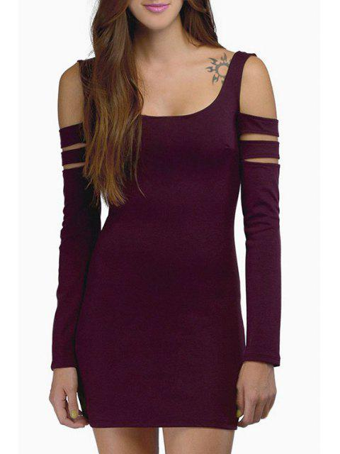 outfits Cut Out Scoop Neck Long Sleeve Bodycon Dress - WINE RED S Mobile