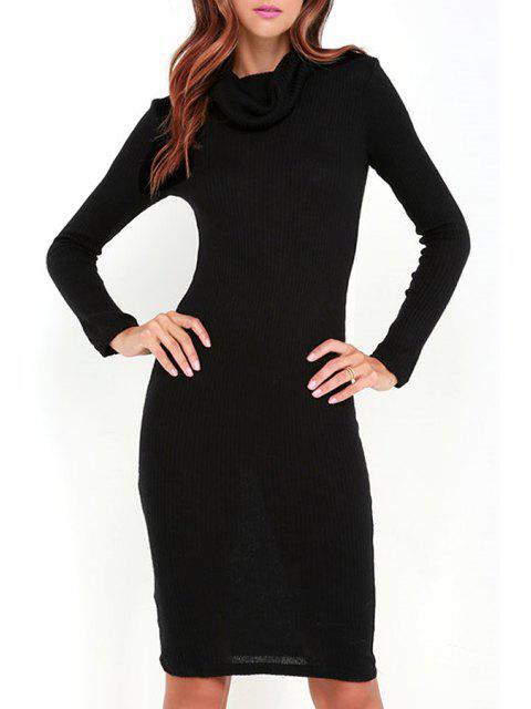 hot Black Heaps Collar Long Sleeve Sweater Dress - BLACK M Mobile
