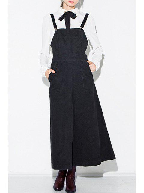 online High Waisted Solid Color Palazzo Overalls - BLACK M Mobile