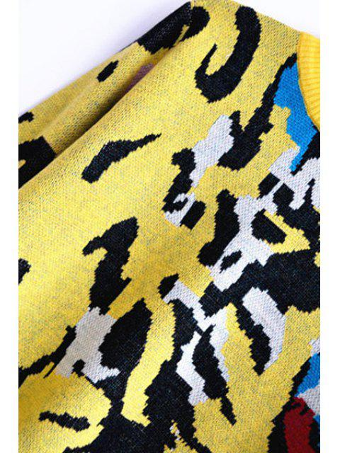 online Tiger Pattern Round Neck Long Sleeve Jumper - YELLOW M Mobile
