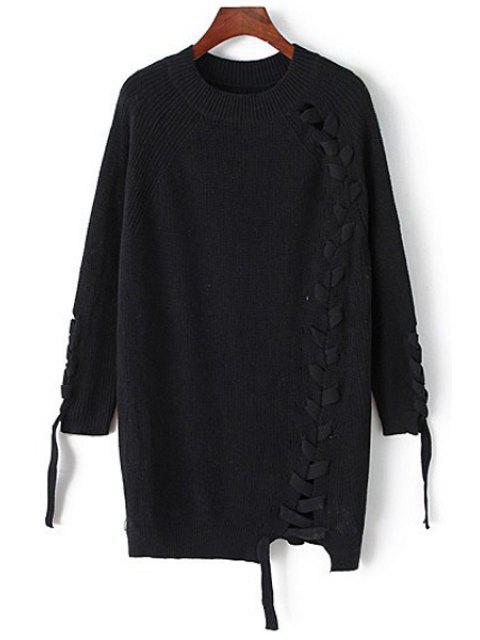 online Solid Color Unique Cross Bandage Long Sleeves Sweater - BLACK ONE SIZE(FIT SIZE XS TO M) Mobile