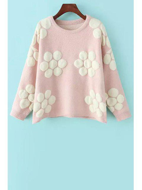 affordable Flower Pattern Jacquard Sweater - PINK ONE SIZE(FIT SIZE XS TO M) Mobile