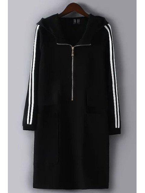 chic White and Black Striped Hooded Neck Long Coat - BLACK L Mobile