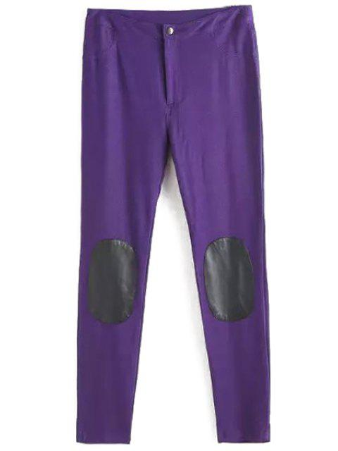 hot PU Leather Spliced Narrow Feet Pants - PURPLE L Mobile
