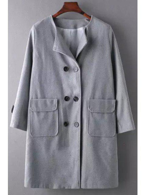 online Gray Long Sleeve Double-Breasted Coat - GRAY M Mobile