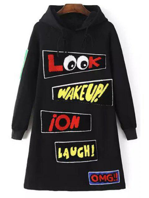 affordable Applique Letter Print Hooded Neck Dress - BLACK M Mobile