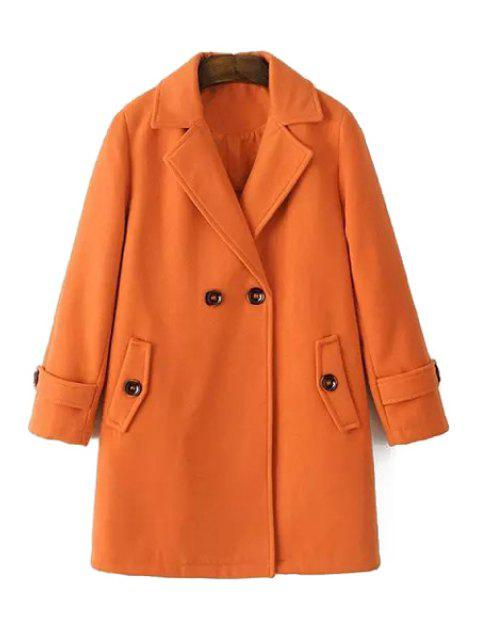 fancy Pure Color Long Sleeves Lapel Collar Coat - ORANGE M Mobile