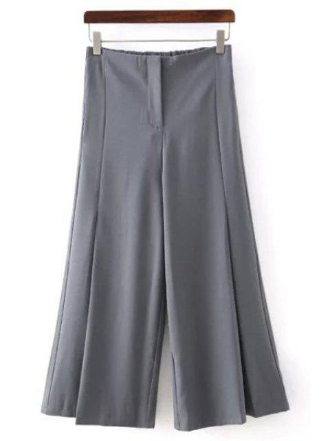 chic Solid Color All Match Loose Fitting Palazzo Pants - GRAY S Mobile