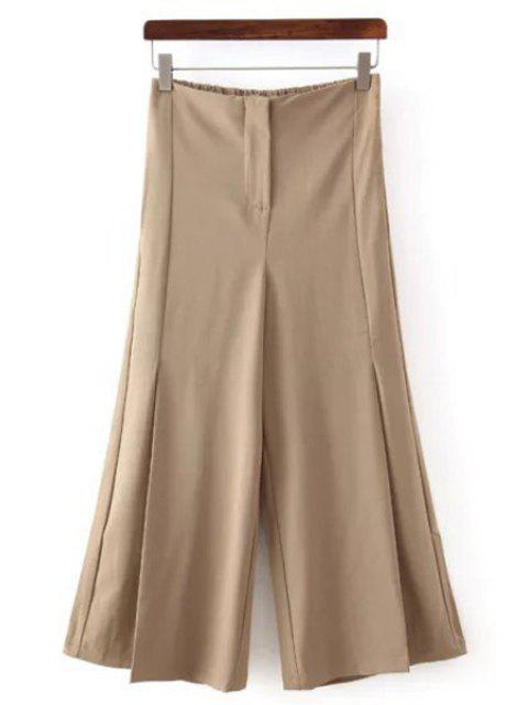 sale Solid Color All Match Loose Fitting Palazzo Pants - KHAKI M Mobile