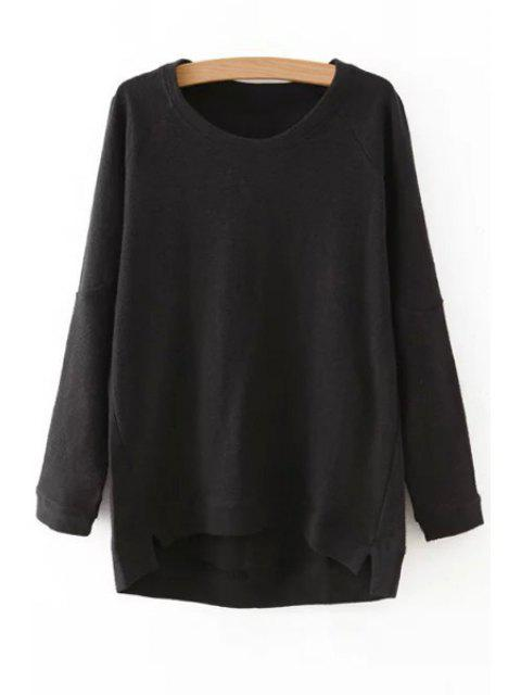 sale Solid Color Irregular Hem Round Collar Sweatshirt - BLACK ONE SIZE(FIT SIZE XS TO M) Mobile