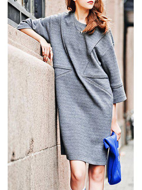women's 3/4 Sleeve Loose-Fitting Sweater Dress - GRAY S Mobile