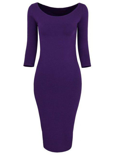 women 3/4 Sleeve Pure Color Bodycon Dress - PURPLE M Mobile