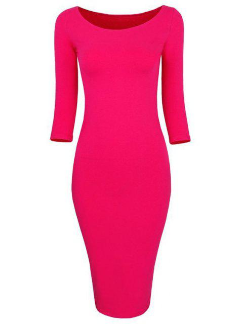 shop 3/4 Sleeve Pure Color Bodycon Dress - ROSE L Mobile