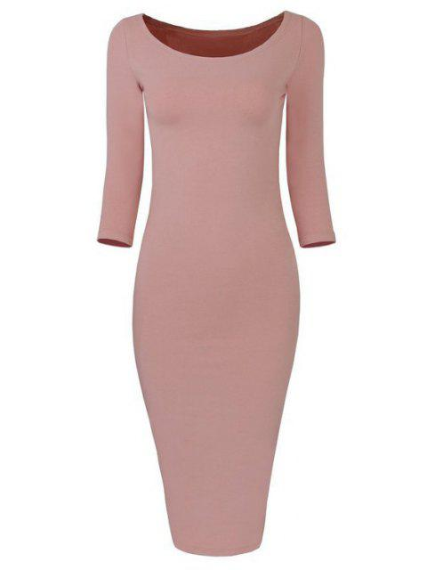 outfits 3/4 Sleeve Pure Color Bodycon Dress - LIGHT PINK L Mobile
