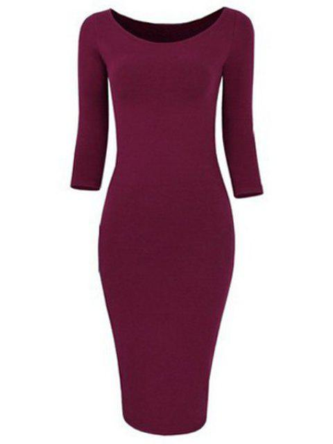 shops 3/4 Sleeve Pure Color Bodycon Dress - WINE RED S Mobile