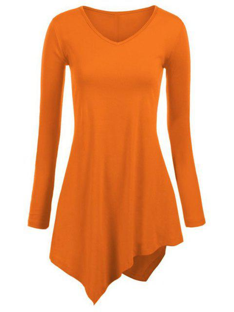 sale Irregular Hem V Neck Long Sleeve T-Shirt - ORANGE S Mobile
