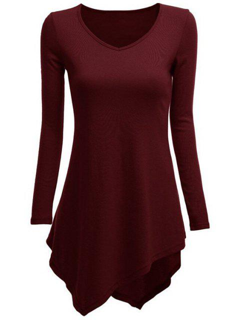 outfit Irregular Hem V Neck Long Sleeve T-Shirt - WINE RED S Mobile
