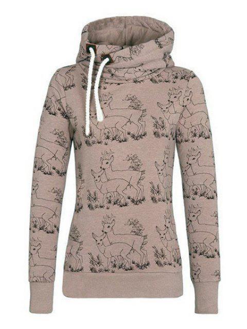 women's Fawn Print Stand Neck Long Sleeve Sweatshirt - KHAKI S Mobile