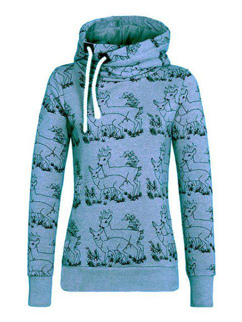 new Fawn Print Stand Neck Long Sleeve Sweatshirt - BLUE S Mobile