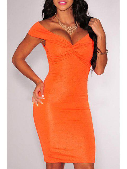 women's Off-The-Shoulder Ruched Bodycon Dress - ORANGE M Mobile