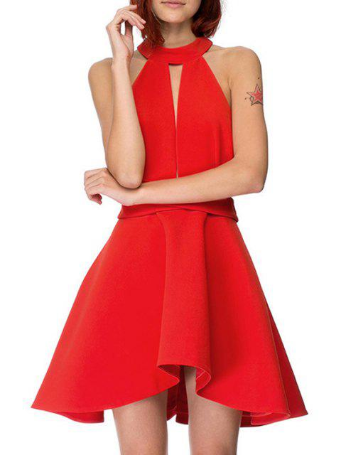fashion Solid Color Backless Cut Out Keyhole Neckline Dress - RED L Mobile