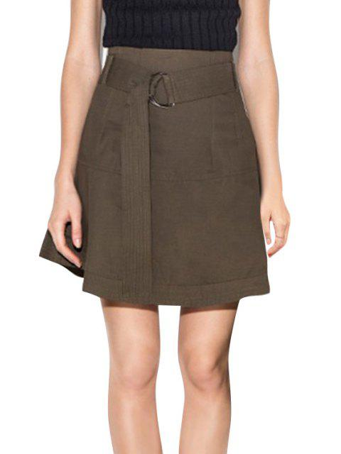 affordable Solid Color High-Wisted Belt Women's Skirt - DUN 2XL Mobile