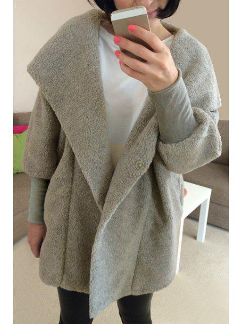 online Faux Lamb Wool Long Sleeve Hooded Coat - LIGHT GRAY M Mobile