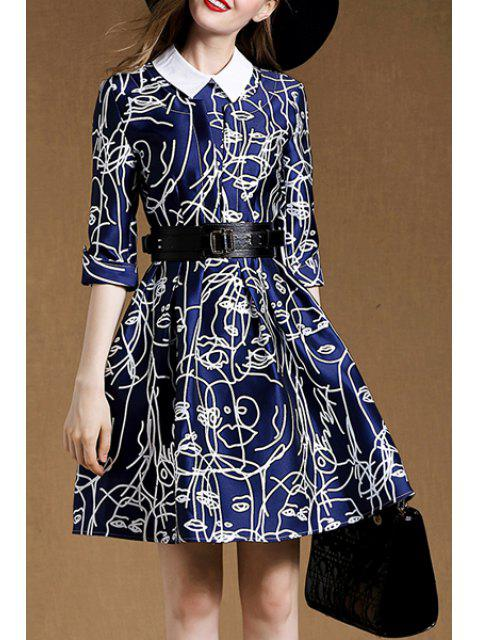 ladies Belted A-Line Blue Dress - BLUE XL Mobile