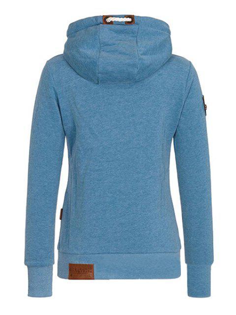 ladies Pure Color Long Sleeves Pullover Hoodie - BLUE M Mobile