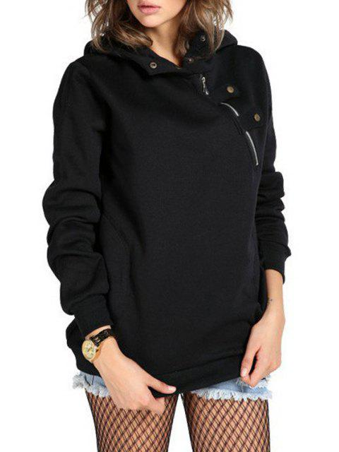 affordable Zipper Long Sleeve Pullover Hoodie - BLACK S Mobile