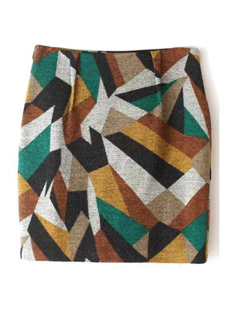 chic Geometric Pattern High Waisted Skirt - KHAKI L Mobile