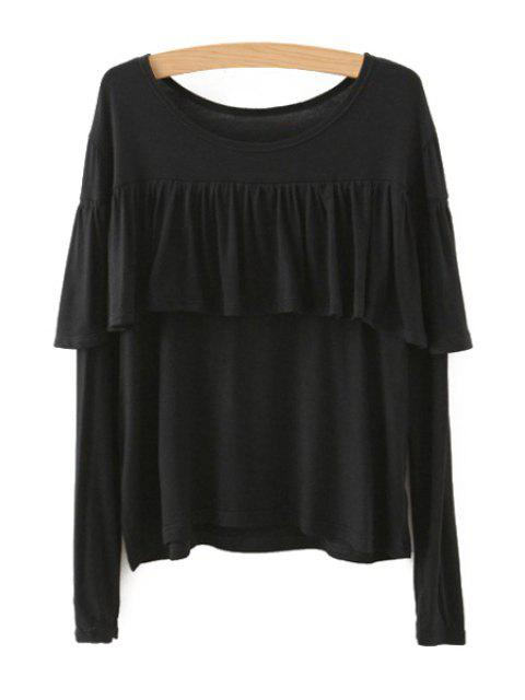 Tassels Spliced ​​Camiseta de manga larga - Negro L Mobile