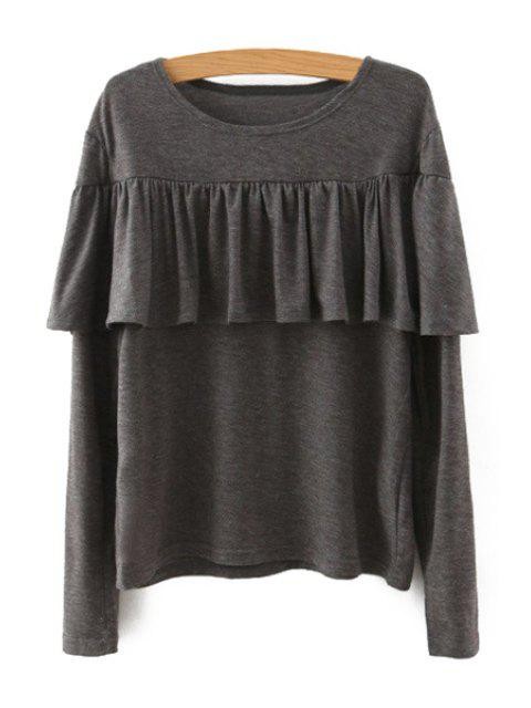 women's Tassels Spliced Long Sleeve T-Shirt - KHAKI M Mobile