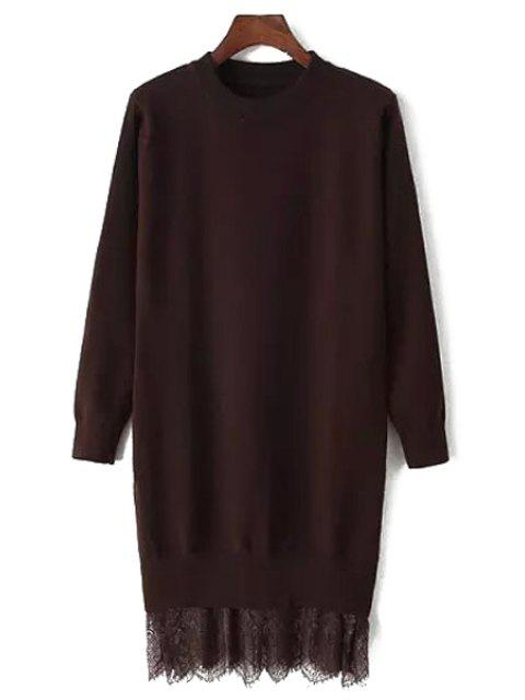 women Lace Spliced Round Neck Long Sleeve Jumper - COFFEE ONE SIZE(FIT SIZE XS TO M) Mobile