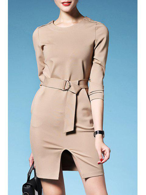 affordable Solid Color Waisted Elegant Front Slit Round Collar Dress - KHAKI S Mobile
