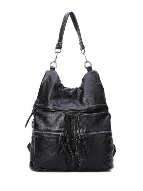 outfit Black Zipper Embossing Shoulder Bag - BLACK  Mobile