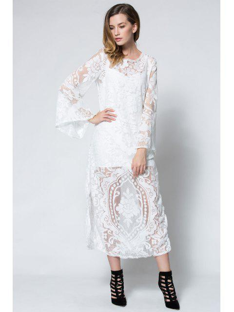 buy Flare Sleeve Sheer Lace Maxi Dress - WHITE S Mobile