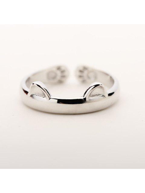 Nette Solid Color Cat Cuff Ring für Frauen - SILVER Einheitsgröße Mobile