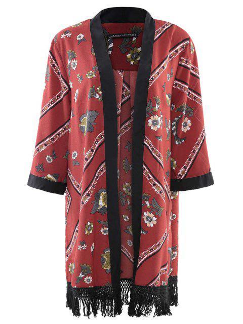 new Floral Chiffon Long Sleeve Kimono - RED M Mobile