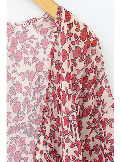 Tiny Floral Print Chiffon Kimono Blouse - Rouge L Mobile